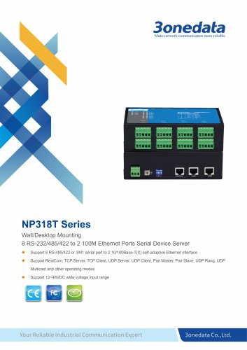 3onedata | NP318T | 8-port RS-232/485/422 to 2-port Ethernet Converter
