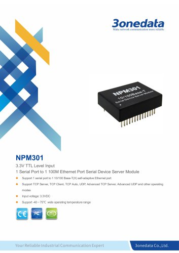 3onedata | NPM301 | 1-port Embedded Serial Device Server Module