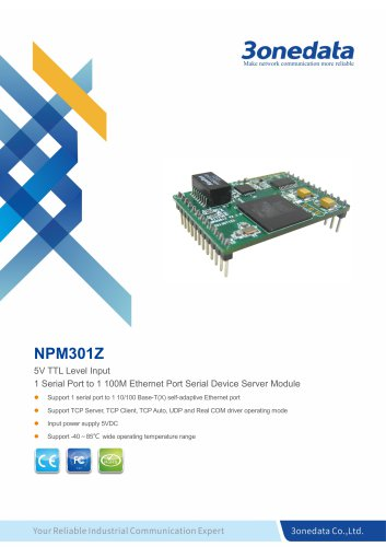 3onedata | NPM301Z | 1-port Serial to Ethernet Device Server Module