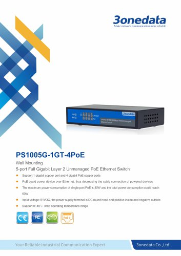 3onedata | PS1005G-1GT-4PoE | POE Switch | Unmanaged | 4 ports 10/100M PoE Switch