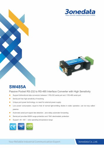 3onedata | SW485A | Industrial-grade RS-232 to RS-485 Converter
