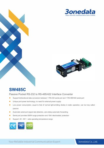 3onedata | SW485C | Industrial-grade RS-232 to RS-485/422 Converter