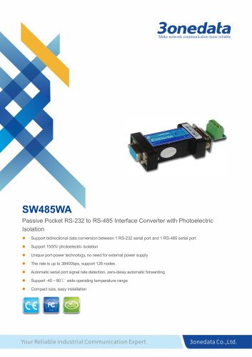 3onedata | SW485WA | Port-powered RS-232 to RS-485 Converter