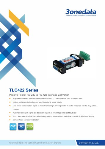 3onedata | TLC422 | Port-powered RS-232 to RS-422 Converter