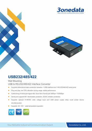 3onedata  | USB232/485/422 | USB to RS-232/485/422 Converter