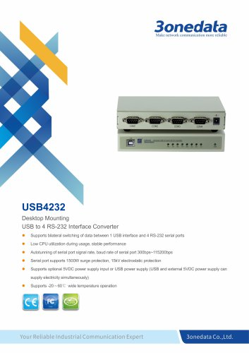 3onedata | USB4232 | USB to 4-port RS-232 Converter