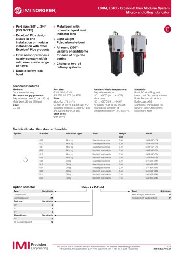 L84M, L84C - Excelon® Plus Modular System Micro- and oilfog lubricator
