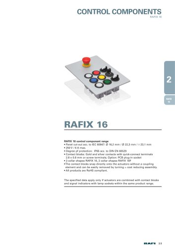 """Chapter 2.1 """"Control Components RAFIX 16"""" from the catalog ?Electromechanical Components 2015?"""