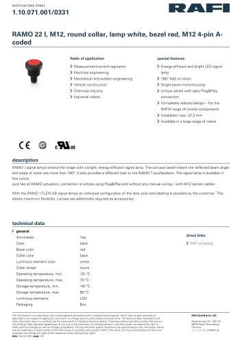 RAMO 22 I, M12, round collar, lamp white, bezel red, M12 4-pin Acoded