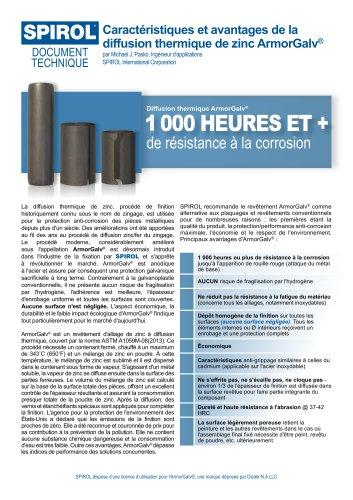 Caractéristiques et avantages de la diffusion thermique de zinc ArmorGalv®