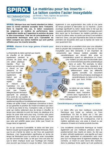 Le matériau pour les inserts : Le laiton contre l'acier inoxydable