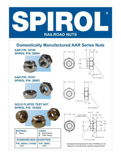 Precision Machined Railroad Nuts AAR