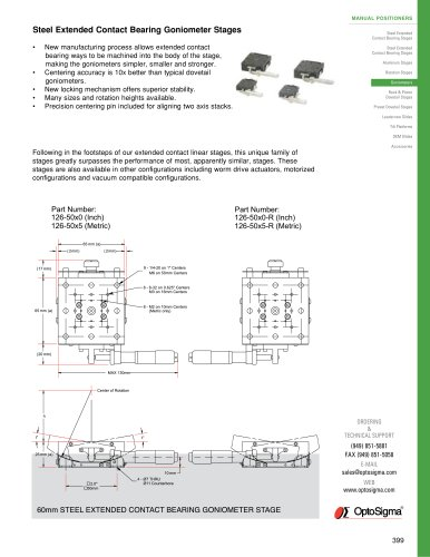 Steel Extended Contact Bearing Goniometer Stages / Goniometer / 126-2010