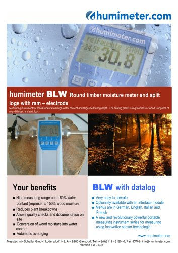 humimeter BLW Round timber moisture meter and split logs with ram-electrode