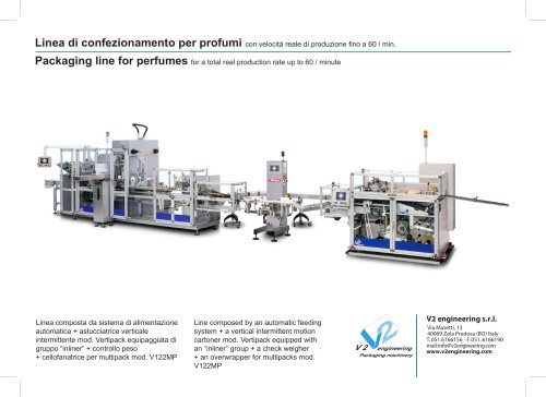Packaging line for perfumes