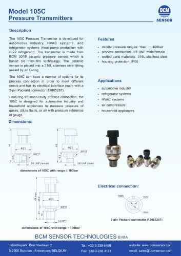 105C Pressure Transmitters For Automotive Industry And Refrigerator