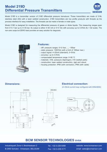 219D Differential Pressure Transmitters For Smart Valve Application