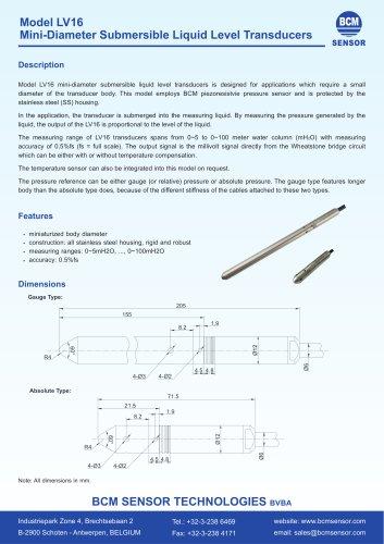 LV16 Mini-Diameter Submersible Liquid Level Transducers