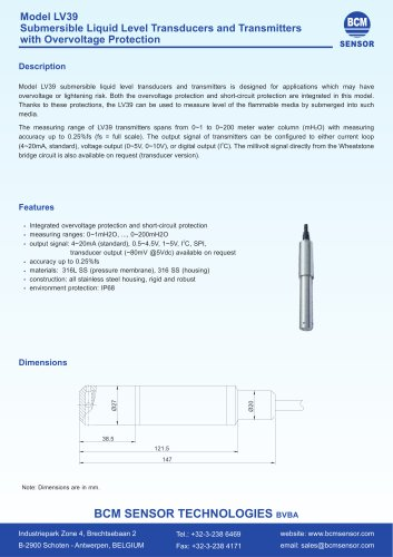 LV39 Liquid Level Transducers And Transmitters With Overvoltage Protection