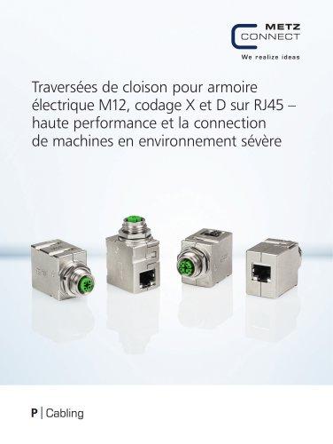 P|Cabling - Traversées de cloison pour armoire électrique M12, codage X et D sur RJ45