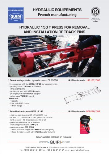 HYDRAULIC  PRESS FOR REMOVAL & INSTALLATION OF TRACK PINS - 150 Tons