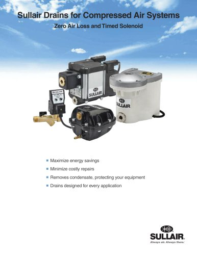 Sullair Drains for Compressed Air Systems Zero Air Loss andTimed Solenoid