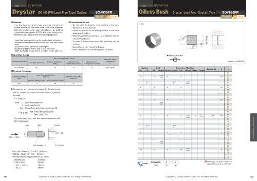 Oilless Resin Slideing Materials: Bush (Drystar) Lead Free, Straight type