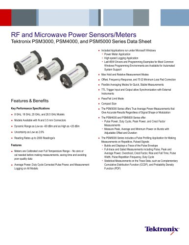 RF and Microwave Power Sensors/Meters Tektronix PSM3000, PSM4000, and PSM5000 Series