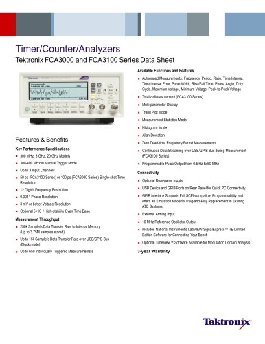 Timer/Counter/Analyzers Tektronix FCA3000 and FCA3100 Series