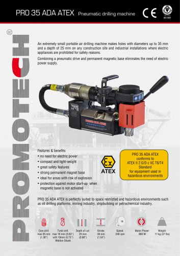 PRO-35 ADA ATEX Pneumatic Mag Drill