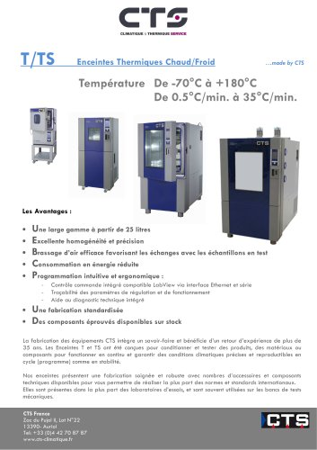 T/TS Enceintes Thermiques Chaud/Froid