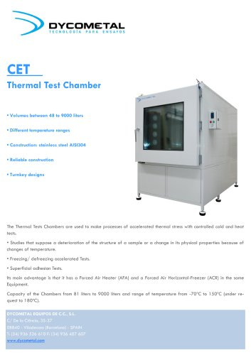 TEMPERATURE TEST CHAMBER, CETM