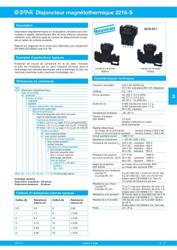 Disjoncteurs magnéto-thermiques 2216-S