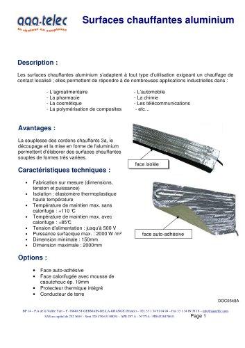 Surface chauffante en aluminium