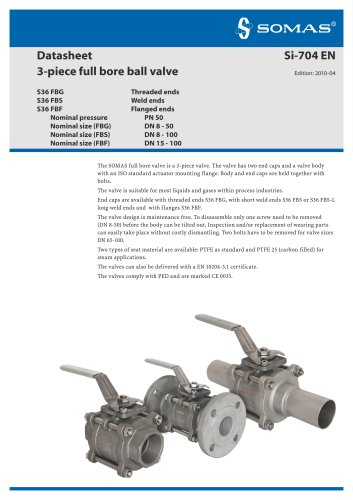3-piece full bore ball valve