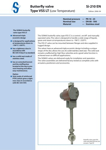 Butterfly valve Type VSS LT (Low Temperature)