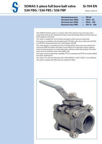 SOMAS 3-piece full bore ball valve