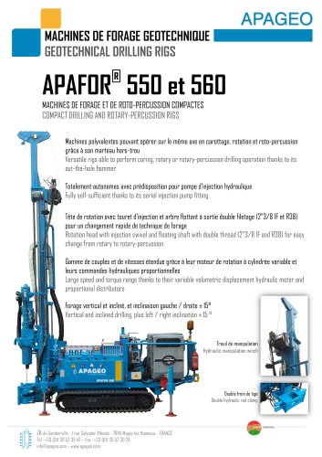 APAFOR 550 and 560 - Geotechnical drilling rigs