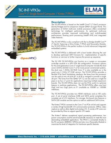 2nd Generation Intel Core i7 Processor with Kintex FPGA - Model TIC-INT-VPX3a
