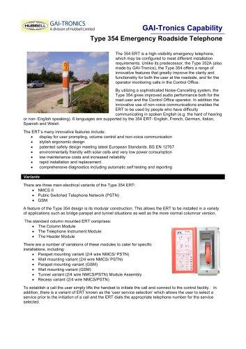 Emergency Roadside Telephone: Type 354 (ERT)