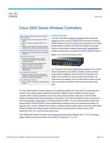 Cisco 2500 Series Wireless Controllers Data Sheet