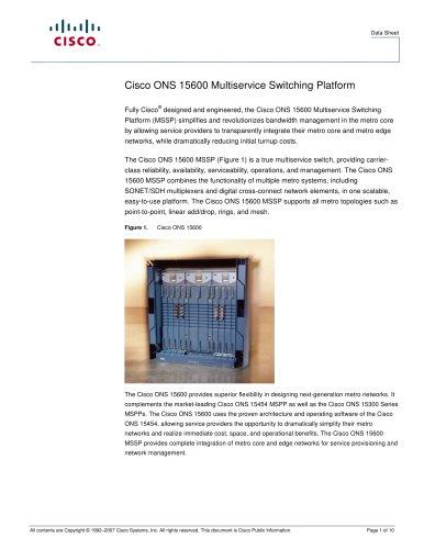 Cisco ONS 15600 Multiservice Switching Platform