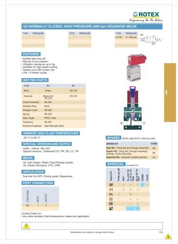 2 Port Normally Closed, High Pressure ( 400 Bar ) Solenoid Valve