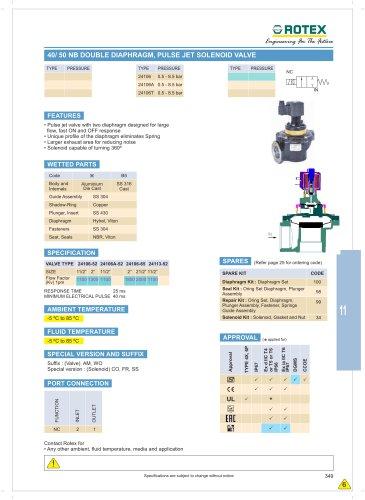 40 NB / 50 NB Double Diaphragm Pulse Jet Solenoid Valve