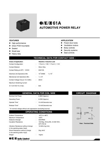 Series 61A automotive relay