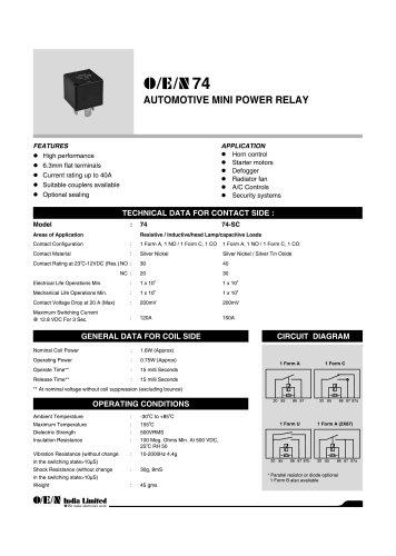 Series 74 automotive relay