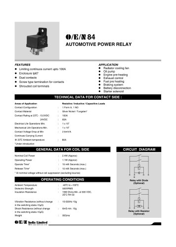 Series 84 automotive relay
