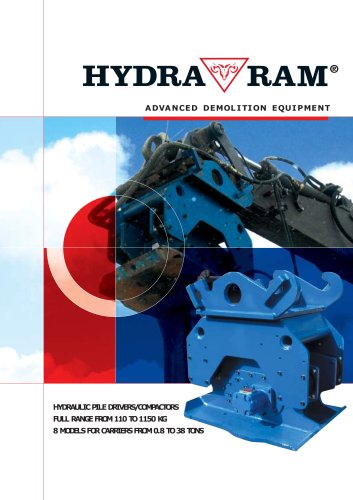 HYDRAULIC PILE DRIVERS/COMPACTORS FULL RANGE FROM 110 TO 1150 KG