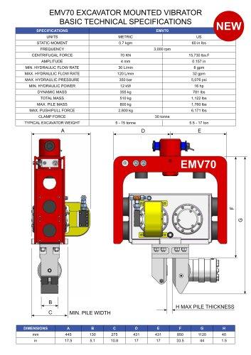 EMV70 EXCAVATOR MOUNTED VIBRATOR BASIC TECHNICAL SPECIFICATIONS