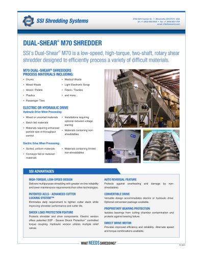 Dual-Shear® M70 Two-Shaft Shredder